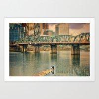 Lovers Under The Bridge Art Print