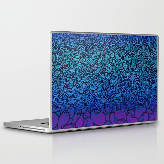 Purple Paisley - ombre paisley pattern in purple, blue and black. Laptop & iPad Skin