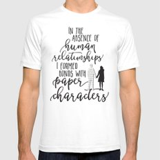 I Formed Bonds with Paper Characters Mens Fitted Tee White SMALL
