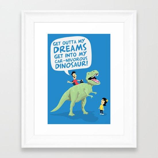 my car-nivorous dinosaur Framed Art Print
