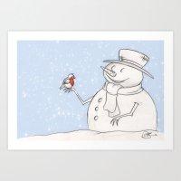 Twigs The Snowman Art Print