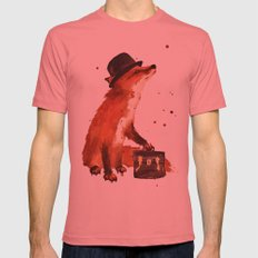 Fox in hat, office decor, gift for the boss, fox, fox painting, British fox Mens Fitted Tee Pomegranate SMALL