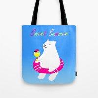 Sweet Summer Polar Bear Tote Bag