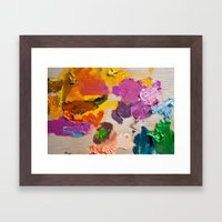 Palette for oil painting. Mixing colors Framed Art Print