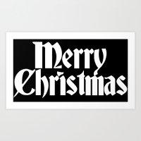Merry Christmas White Ch… Art Print