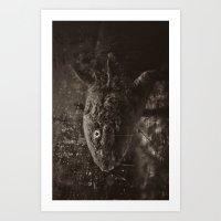 Axolotl Horst Grey Art Print