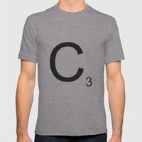 Scrabble C Mens Fitted Tee Athletic Grey SMALL