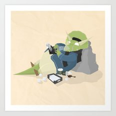 Hipster Dinosaur adds the latest chapters to his novel Art Print