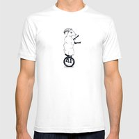 Goat On A Unicycle Mens Fitted Tee White SMALL