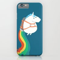 iPhone Cases featuring Fat Unicorn on Rainbow Jetpack by Budi Kwan