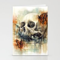 calavera mariposa - watercolor skull Stationery Cards