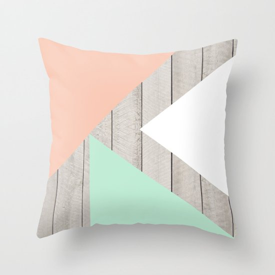Modern Teal Peach Triangles Color Block on Wood Throw Pillow by Girly Trend Society6