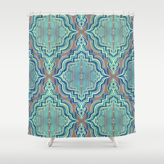Marker Moroccan In Aqua Cobalt Blue Taupe Teal Shower Curtain By Micklyn Society6