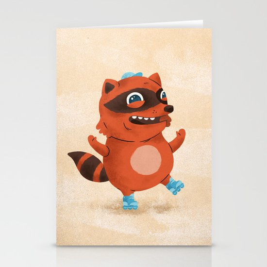 Rollerblade Raccoon Stationery Card