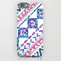 Modern Abstract Geometric Aztec Pattern Pink Teal iPhone & iPod Case