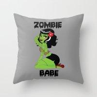 Zombie Babe Throw Pillow