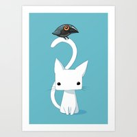 geometric Art Prints featuring Cat and Raven by Freeminds