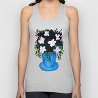 Blue Vase with Foliage and White Flowers Unisex Tank Top