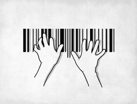Barcode pianist Art Print
