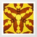 Geometric Bat Pattern - Golden version Art Print