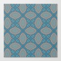 Tribal Tile Blue Canvas Print
