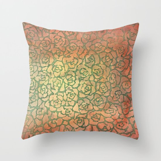roses pattern Throw Pillow