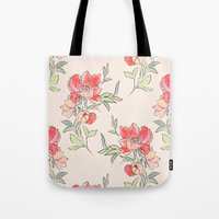 Vintage Floral Green Dot Tote Bag