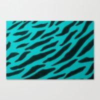 Aqua Zebra Print Canvas Print