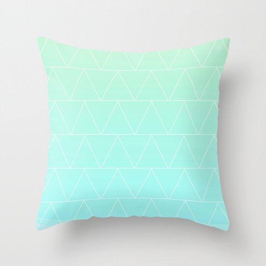 Mint Heaven Triangles Throw Pillow
