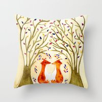 Two Foxes Meet In The Tr… Throw Pillow