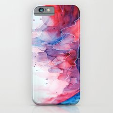 Watercolor magenta & cyan, abstract texture iPhone 6 Slim Case
