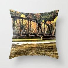 West VA Train Bridge Throw Pillow