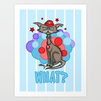 Cool Cat in a Red Hat Art Print