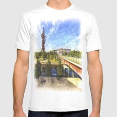 West Ham Olympic Stadium And The Arcelormittal Orbit Art Mens Fitted Tee White SMALL