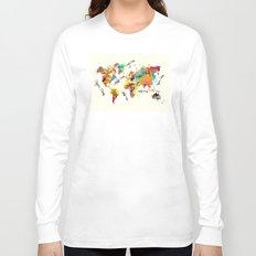 world map art text Long Sleeve T-shirt