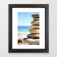 stacked rocks Framed Art Print