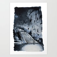 Blue night - Paris painting Art Print