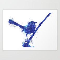 Fairy Wren Watercolour Splash Art Print