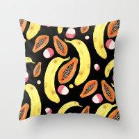 tropical juice (black) Throw Pillow