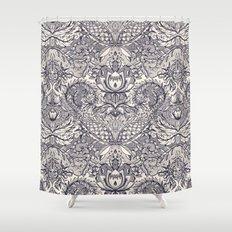 Natural Rhythm 2 - a hand drawn pattern in charcoal & cream Shower Curtain