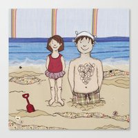 Embroidered Father And D… Canvas Print