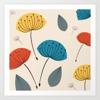 Dandelions in the wind Art Print