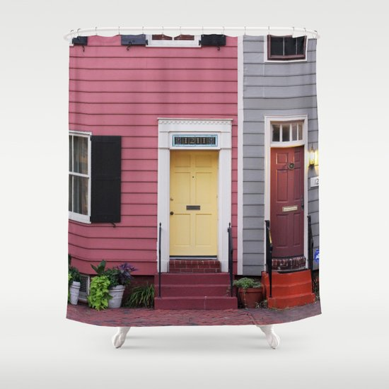 Curtains Ideas gray and orange shower curtain : Pink and Grey and Yellow and Orange Shower Curtain by Myhideaway ...