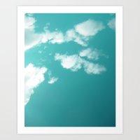 Teal kissed sky. Art Print