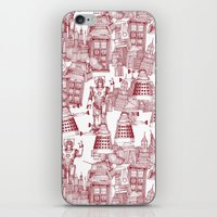 Doctor Who Toile de Jouy | 'Walking Doodle' | Red iPhone & iPod Skin