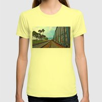 Planes, Trains, but no Automoblies Womens Fitted Tee Lemon SMALL