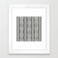 Cable Knit Grey Framed Art Print
