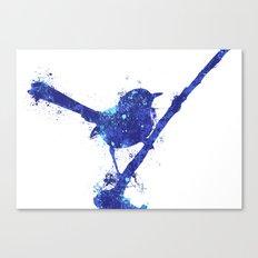 Fairy Wren Watercolour Splash Canvas Print