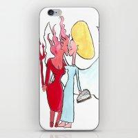 Angel/devil lesbian kiss iPhone & iPod Skin