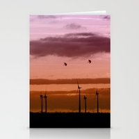 Wind power plant at dawn Stationery Cards